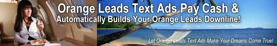 Orange Leads Text Ads pays you cash per click or 1:1 traffic exchange, builds your Orange Leads Downline, and lets you purchase clicks for traffic to your website.